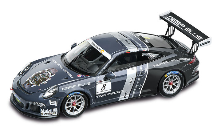 911 GT3 Cup Porsche Design, schwarz/multicolour, 1:43, Limited Edition