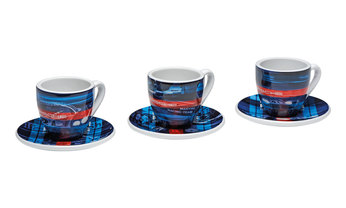 MARTINI RACING Collection, Espresso Cups, Set of 3, Limited Edition, blue/red/turquoise