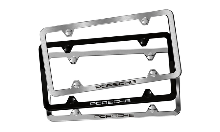 Slimline design license frame with Porsche script