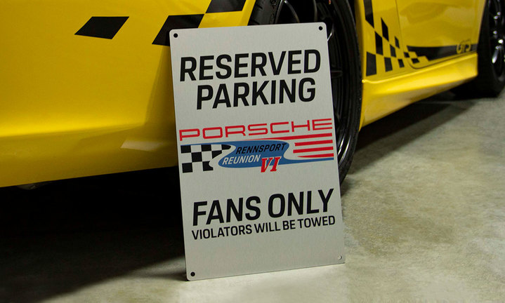 Porsche Rennsport VI Fans Only Sign with wall mounting hardware