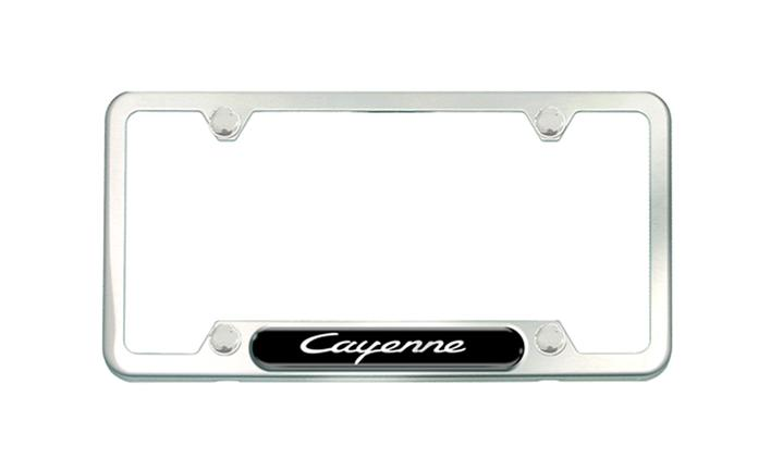Brushed silver license frame with Cayenne script